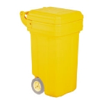 Continental 5850YW 50-Gal Tilt N Wheels Trash Can w/ Hinged Lid, 2 Wheel, Yellow