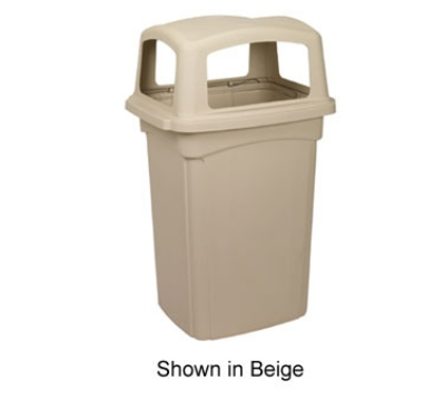 Continental Commercial 6454 45-Gal Colossus Trash Can w/ 4 Spring Loaded Doors, Beige