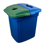 Continental 656-1 56-Gallon Recycle Receptacle w/ Hinged Lid, Green & Blue Lid