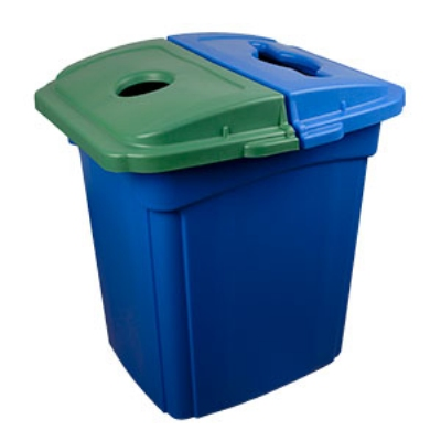 Continental Commercial 656-1 56-Gallon Recycle Receptacle w/ Hinged Lid, Green & Blue Lid