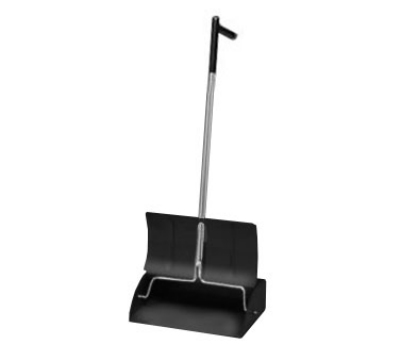 Continental Commercial 808L Dust Pan w/ Self Opening and Closing Lid, Extra Long Handle, Black