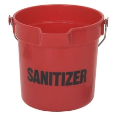 Continental Commercial 8110RDGM 10-Qt Huskee Utility Bucket w/ Sanitizer Handle & Pouring Spout, Red