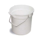 Continental Commercial 8114 WH 14-Qt Huskee Utility Bucket w/ Handle and Pouring Spout, White