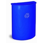Continental 8321-1 21-Gal Wall Hugger Trash Can for Recycle Waste, Blue