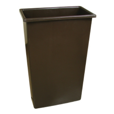 Continental 8322 BN 23-Gal Wall Hugger Trash Can, Brown