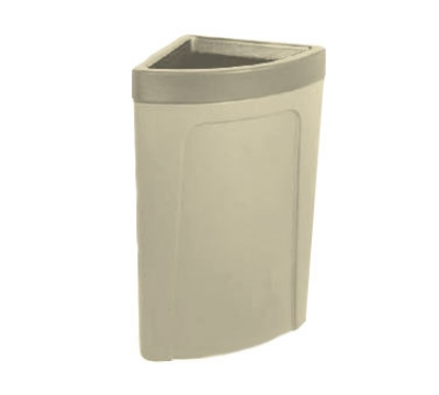 Continental Commercial 8324 BE 21-Gal Corner Round Trash Can w/ Bag Holder & Tie Down, Beige