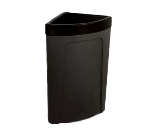 Continental 8324 BK 21-Gal Corner Round Trash Can w/ Bag Holder & Tie Down, Black