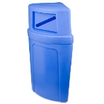 Continental 8325-1 Round 21-Gallon Recycling Receptacle w/ Slot, Blue