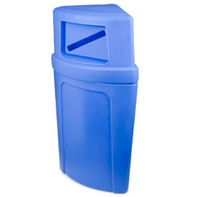 Continental Commercial 8325-1 Round 21-Gallon Recycling Receptacle w/ Slot, Blue