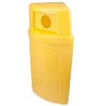 Continental 8325-3 Round 21-Gallon Recycling Receptacle w/ Hole, Yellow