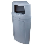 Continental Commercial 8325-4 Round 21-Gallon Recycling Receptacle w/ Opening, Grey