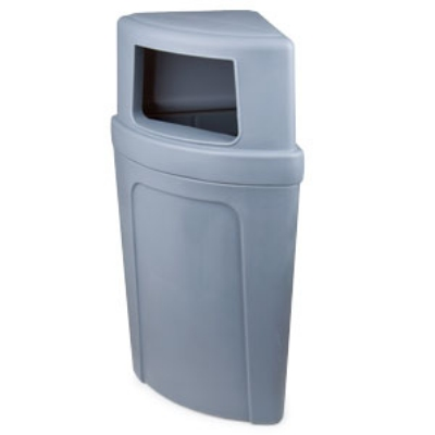 Continental 8325-4 Round 21-Gallon Recycling Receptacle w/ Opening, Grey
