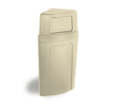 Continental Commercial 8325 BE 21-Gal Corner Recycle Trash Can w/ Bag Holder & Tie Down, Beige