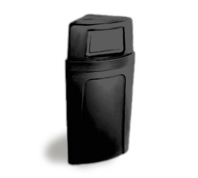 Continental 8325 BK 21-Gal Corner Recycle Trash Can w/ Bag Holder & Tie Down, Black
