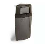 Continental Commercial 8325 BN 21-Gal Corner Recycle Trash Can w/ Bag Holder & Tie Down, Brown