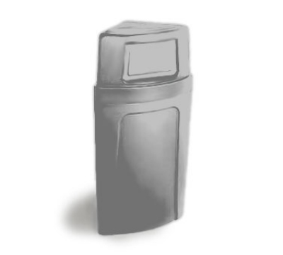 Continental 8325 GY 21-Gal Corner Recycle Trash Can w/ Bag Holder & Tie Down, Grey