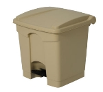 Continental Commercial 8BE 8-Gal Step On Trash Can w/ Built In Hooks, Beige