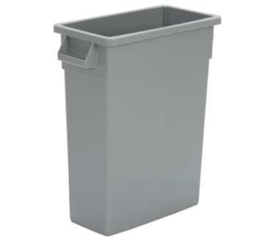 Continental Commercial H8316 GY 16-Gal Wall Hugger Trash Can w/ Handles, Grey
