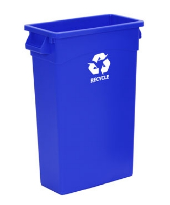 Continental Commercial H8322-1 23-Gallon Recycle Waste Container w/ Handles, Blue