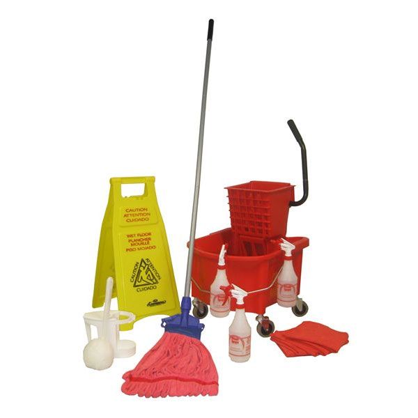 Continental Commercial RRVP1 Cleaning Kit: 26-qt Bucket & Wringer, Mop & Handle, Sign, Sprayers