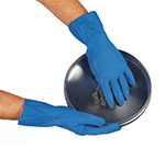 San Jamar 12NFXL-PR X-Large Dishwashing Glove - Embossed Grip, Elbow Length, Blue Latex