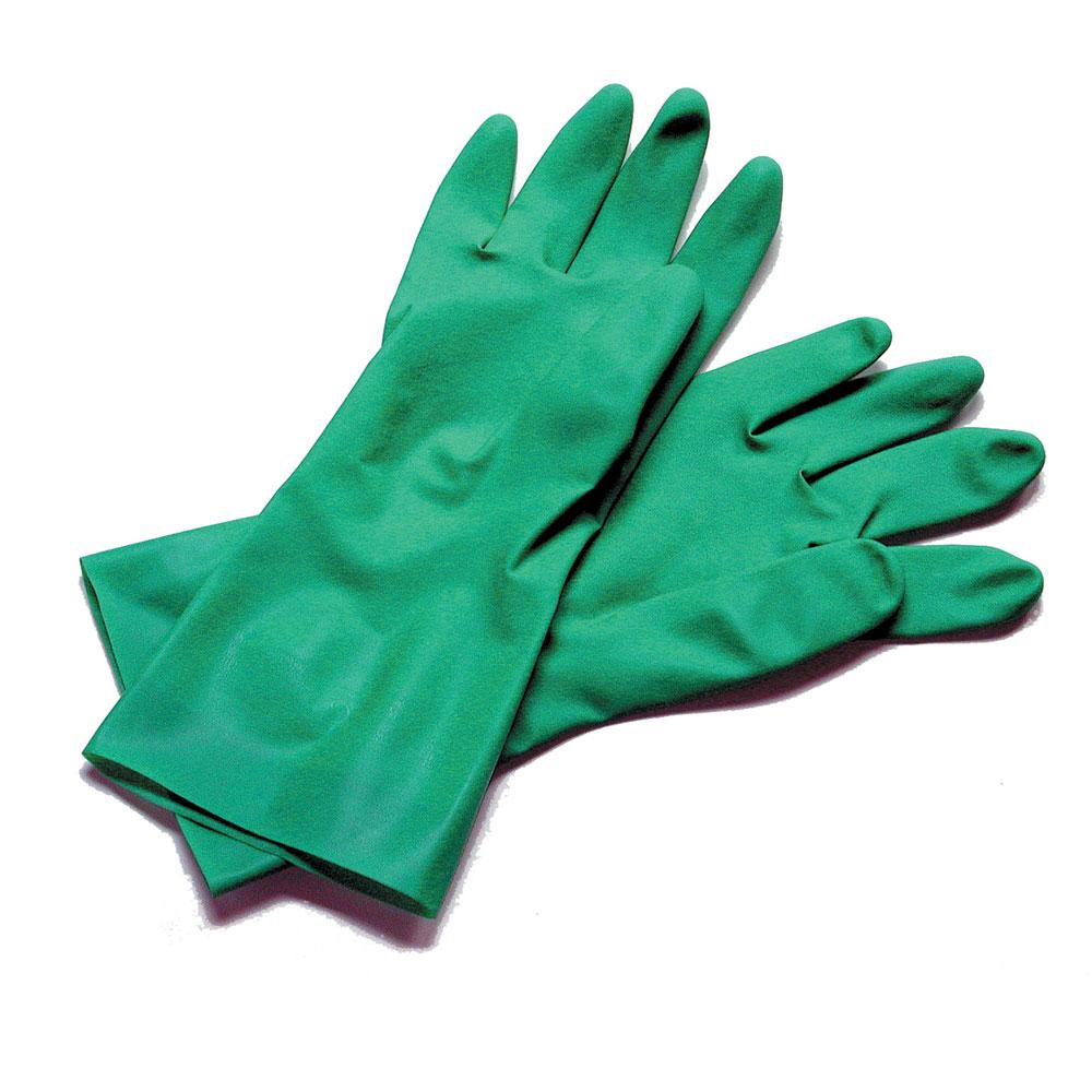 San Jamar 13NU-L Lined Nitrile Dishwashing Glove, Large, Embossed Grip, Green