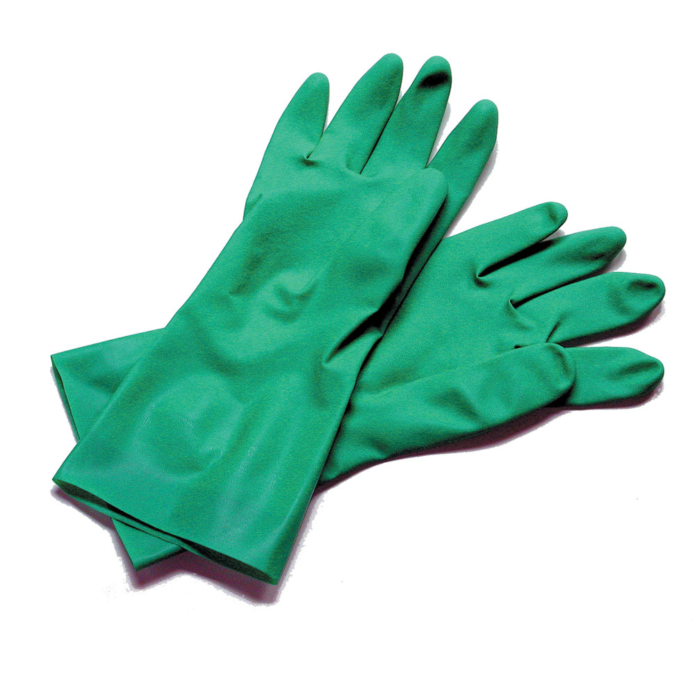 San Jamar 13NU-M Lined Nitrile Dishwashing Glove, Medium, Embossed Grip, Green