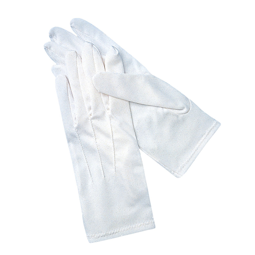San Jamar 5312-WH-M Cotton PVC Waiter's Gloves, Palm Dotted, Medium, White