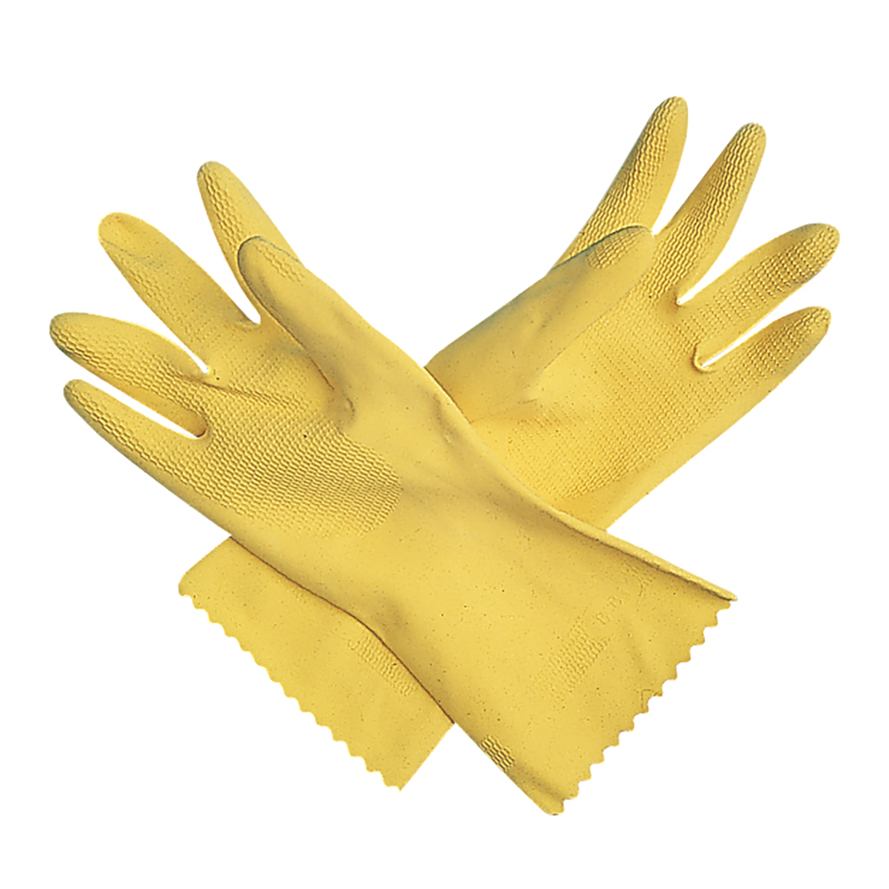 San Jamar 620-M Yellow Latex Flock Lined Glove, Medium