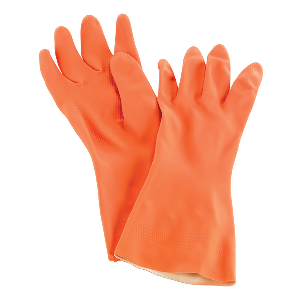San Jamar 720-S Neoprene Latex Lined Dishwashing Glove, Small, Heat Resistant, Orange