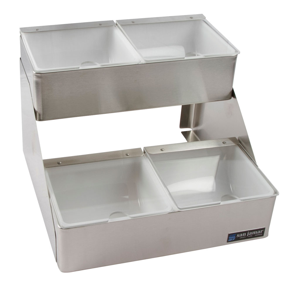 San Jamar B4704INL 4-qt Gourmet Condiment Tray w/ 2-Tiers & Individual Lids, 13x10x12.75-in, Stainless