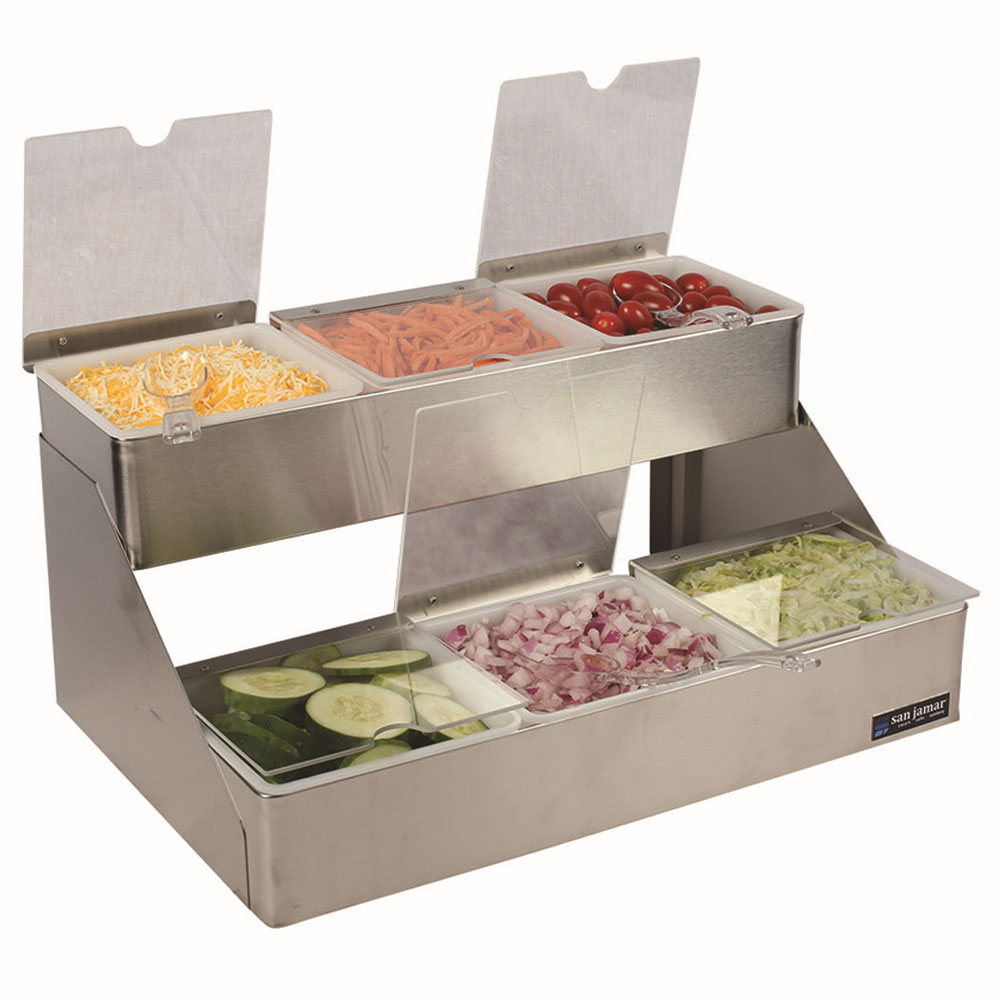 San Jamar B4706INL Gourmet Condiment Tray 2 Tier 6 Qt Restaurant Supply
