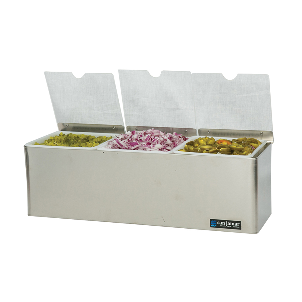 San Jamar B6183INL Gourmet Garnish Tray, 3 Qt, Notched Lids, Ice Packs, SS