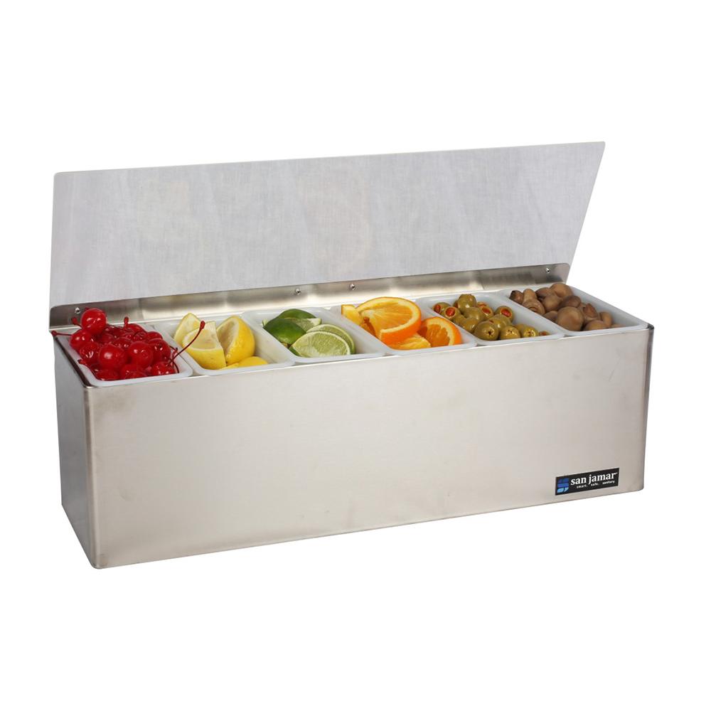 San Jamar B6186L Gourmet Garnish Tray, 6 Pint, Lid, Ice Packs, SS