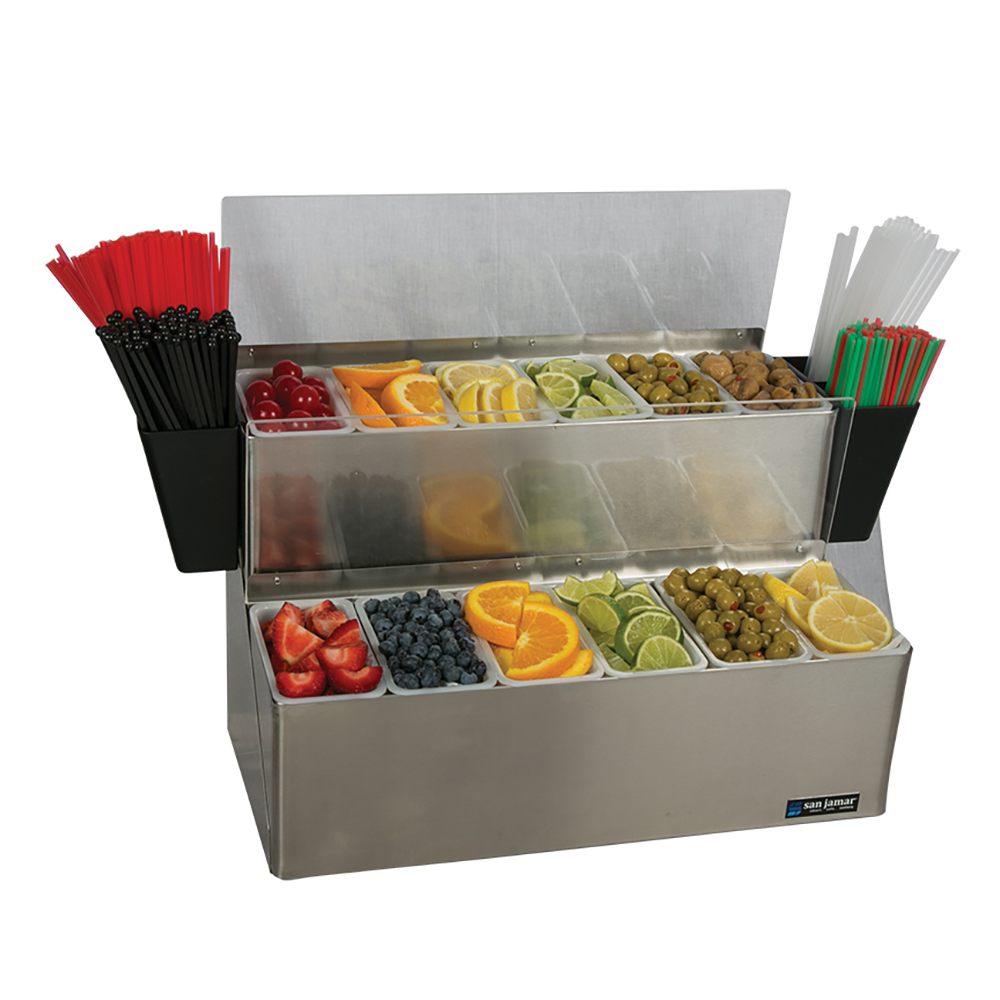 San Jamar B6766L Gourmet Ultimate Garnish Center, 2 Tier, 12 Pints, Lid, Ice Packs, SS