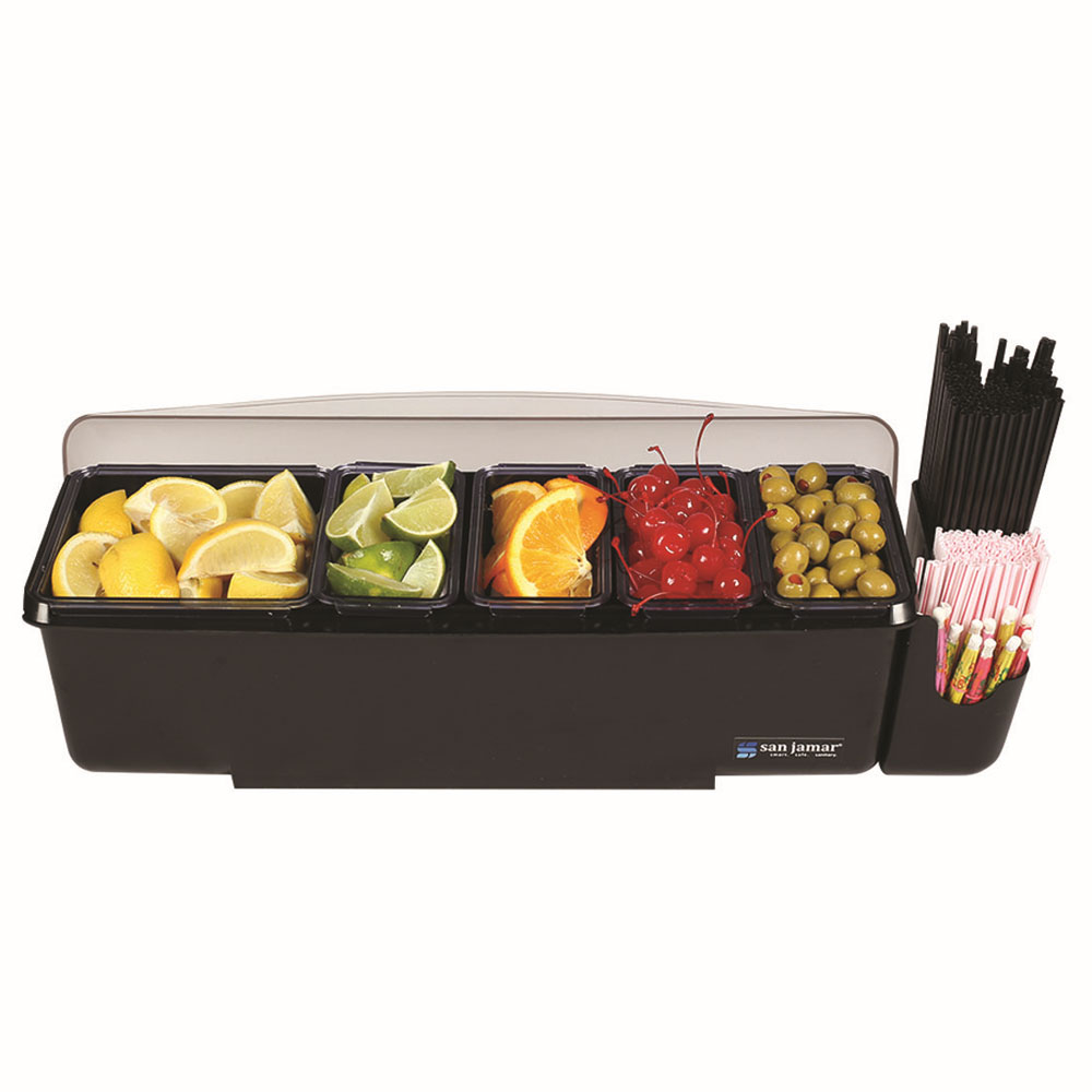 San Jamar BD4005E Garnish Center, (1) 2-qt Tray, (4) 1-pt Trays, 1-Straw Caddie,