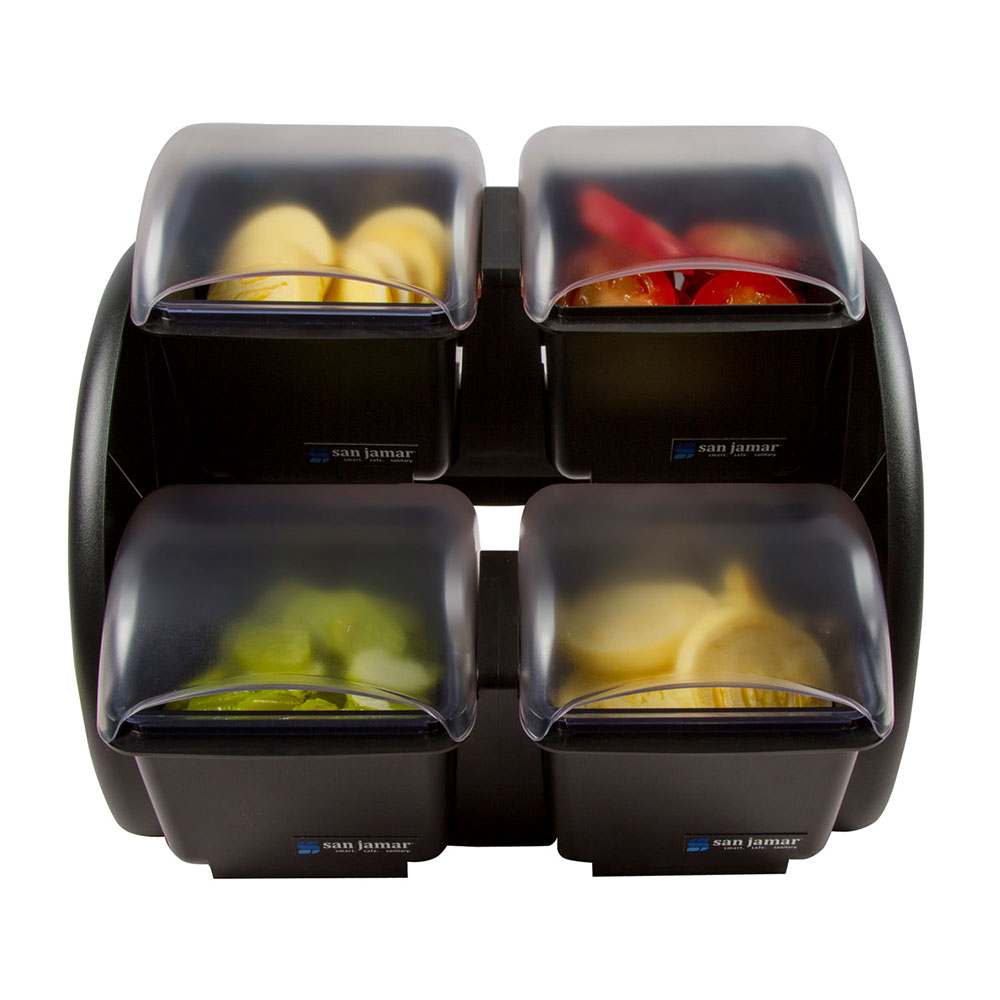 San Jamar BDS2401NL Mini Dome Stacker w/ 2-Mini Dome, (4)1.5-pt Deep Trays & Notched Lids