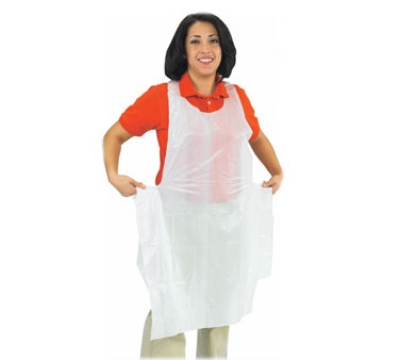 San Jamar 8706 Disposable Bib Apron, Lightweight, 24 x 46-in, Large, White