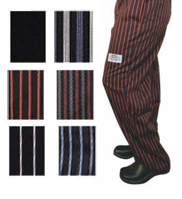 San Jamar P040RS-M Cotton Chef Pants, Medium, Red/Black Pin-stripe