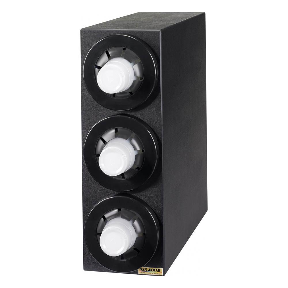 "San Jamar C2953BK Beverage Cup Cabinet, 22-3/8 H x 7-3/4 W x 23""D, 3 Dispensers"