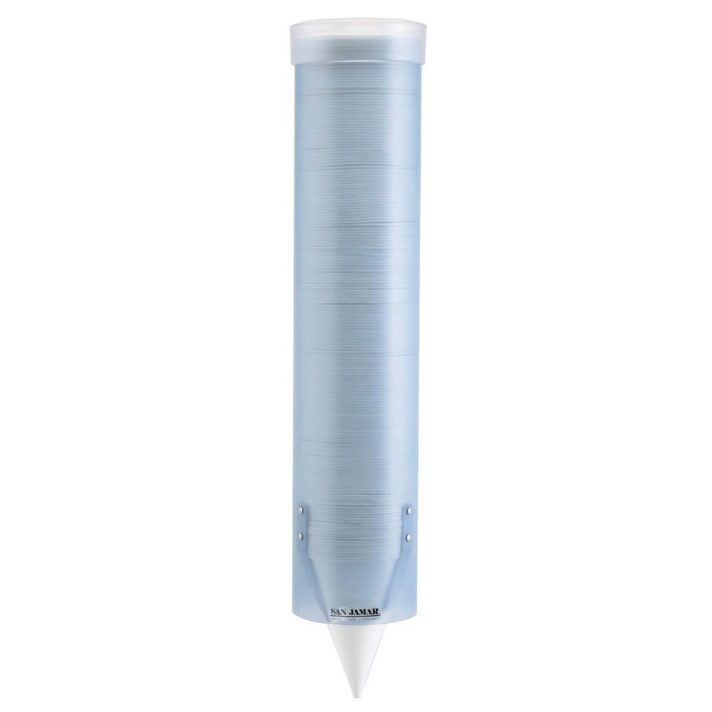 San Jamar C4160TBL Small Pull Type Water Cup Dispenser, Cone 3-4-1/2 oz, Flat 3-5 oz, Trans Blue