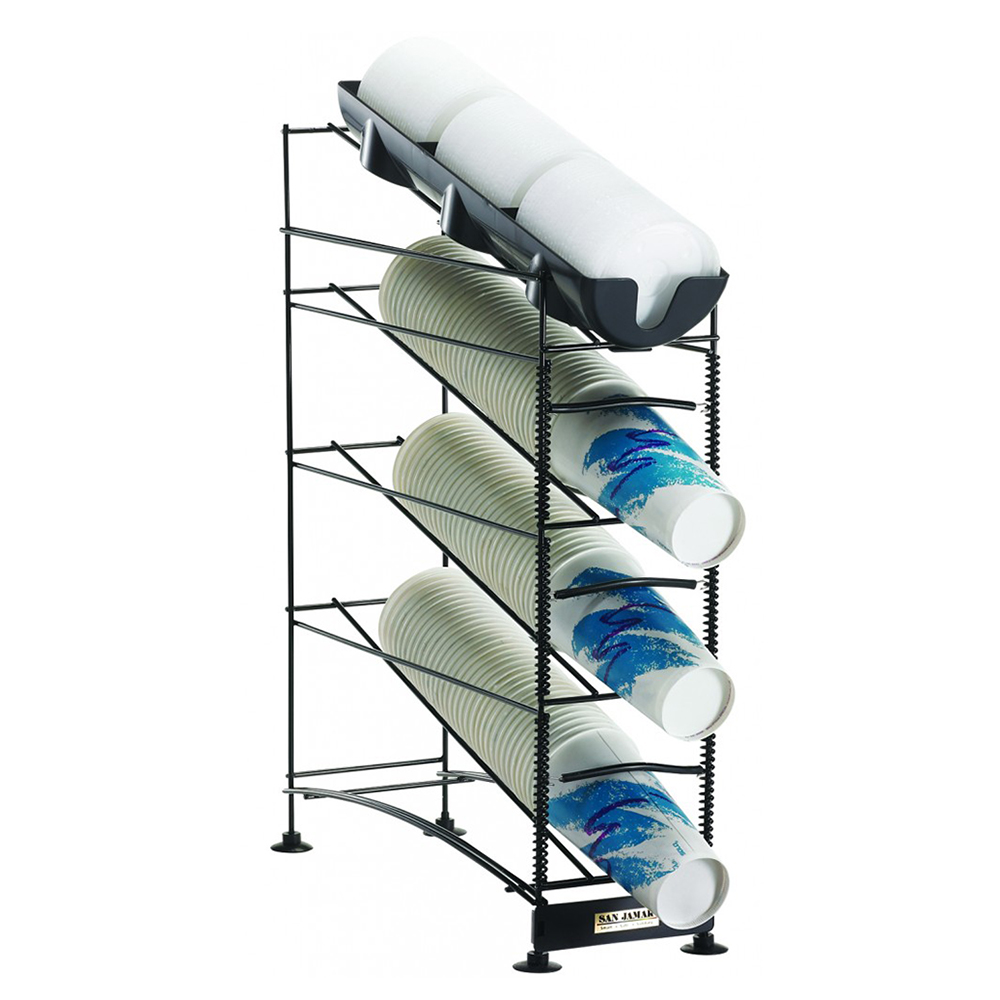 San Jamar C8504WFD Cup Lid Organizer w/ 3-Cup & Lid Dispenser, 24.37 x 6.37 x 18.25-in Wire