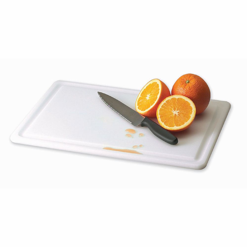 San Jamar CB182412GVWH KolorCut Grooved Cutting Board, 18 x 24 x 1/2 in, White, NSF