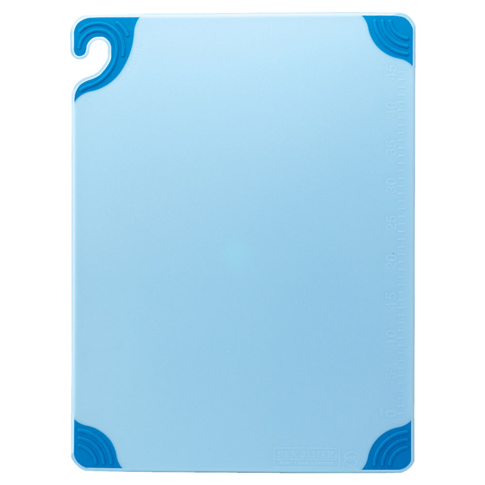 San Jamar CBG182412BL Saf-T-Grip Cutting Board, 18 x 24 x 1/2 in, NSF, Blue