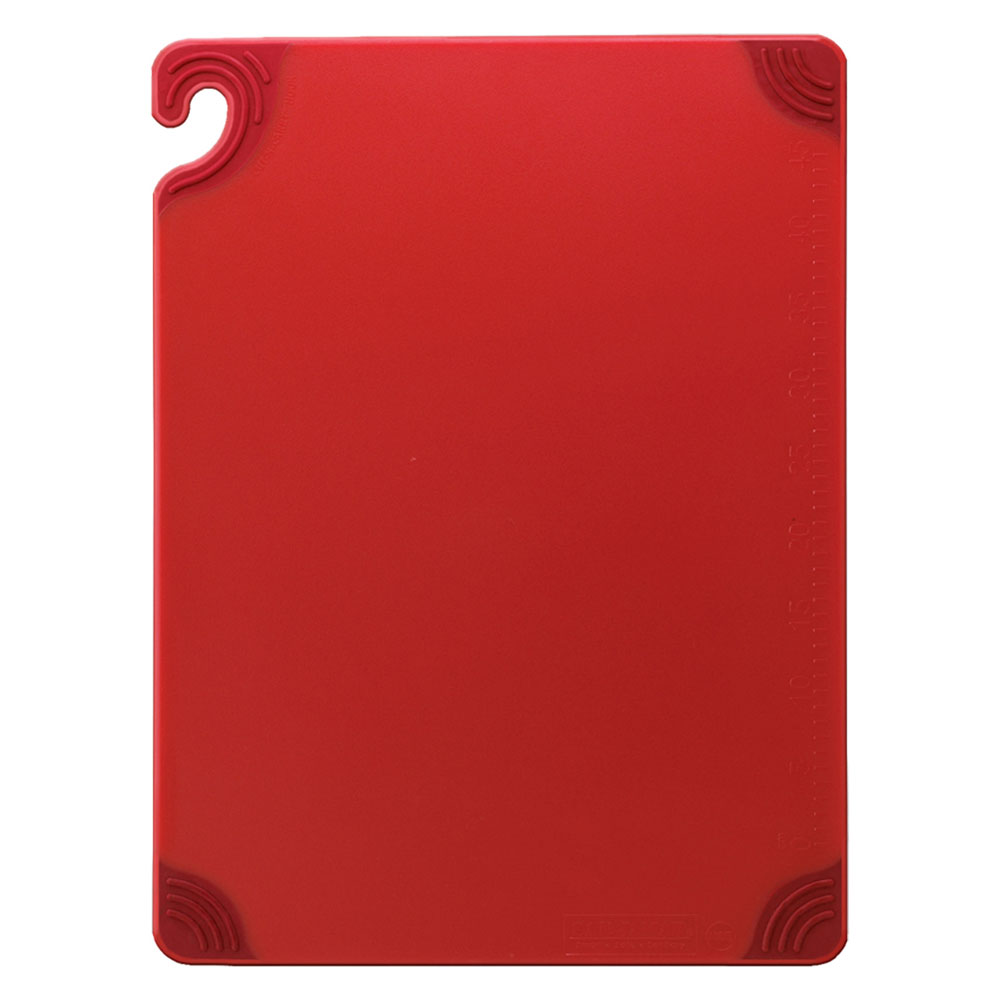 San Jamar CBG121812RD Saf-T-Grip Cutting Board, 12 x 18 x 1/2 in, NSF, Red