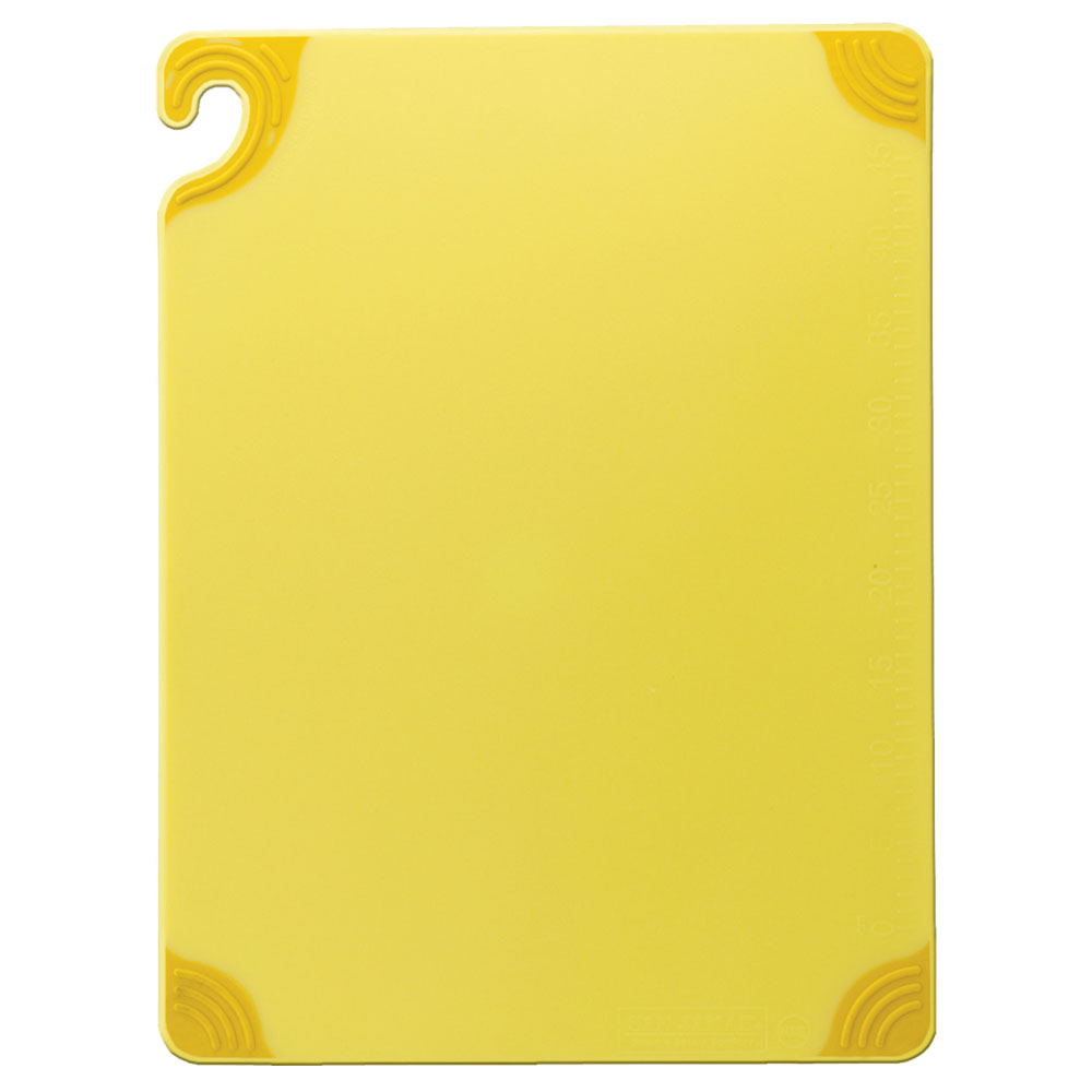 San Jamar CBG121812YL Saf-T-Grip Cutting Board, 12 x 18 x 1/2 in, NSF, Yellow