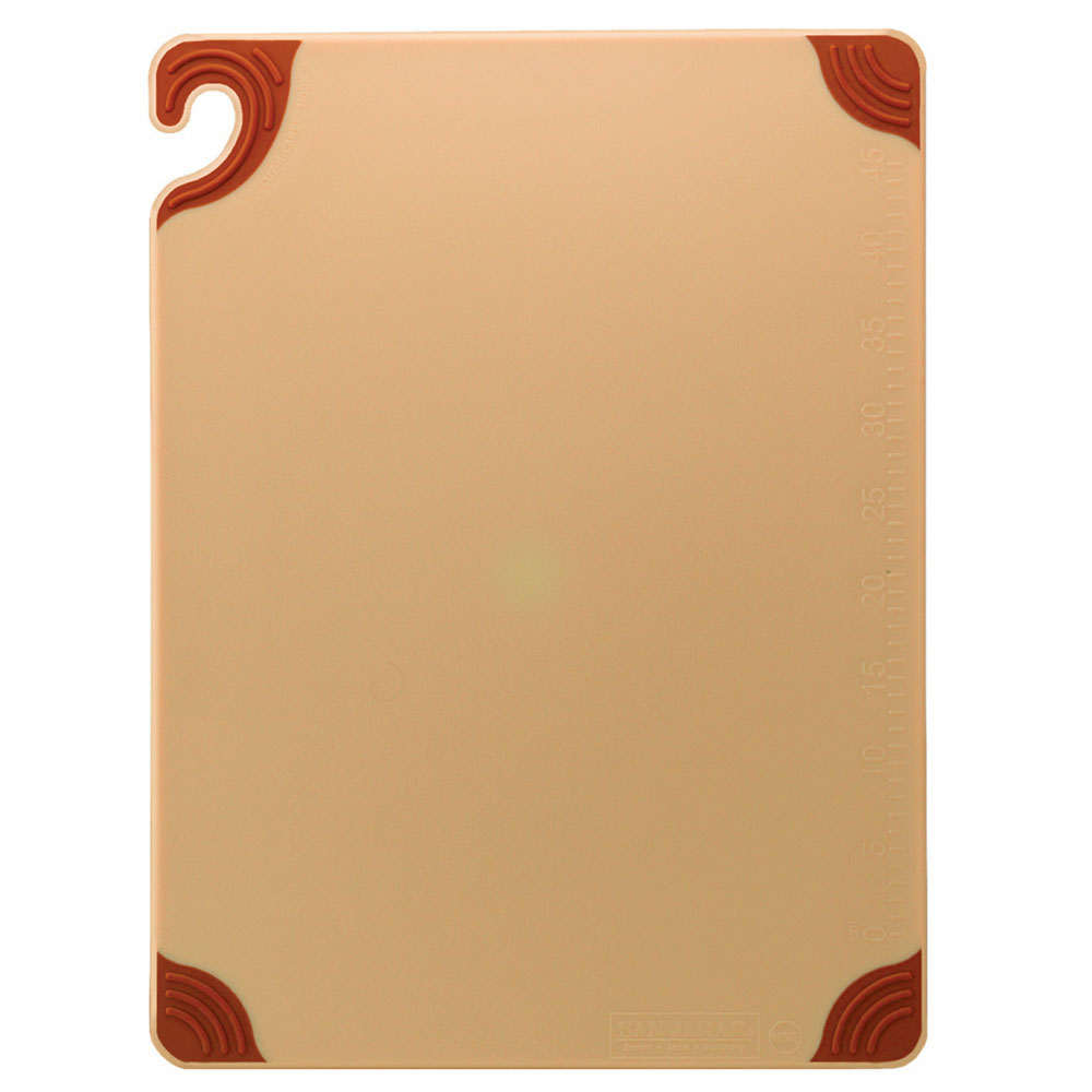 San Jamar CBG152012BR Saf-T-Grip Cutting Board, 15 x 20 x 1/2 in, NSF, Brown