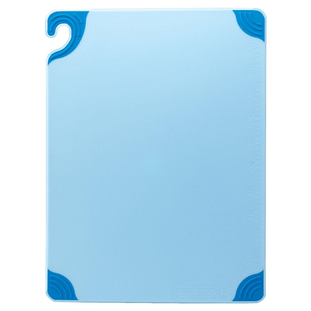 San Jamar CBG182412BL Saf-T-Grip Cutting Board, 18 x 24 x 1/2 in, NSF, Blue