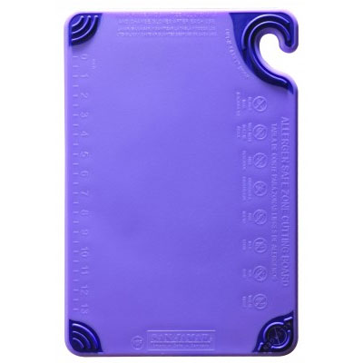 San Jamar CBG6938PR Saf-T-Grip Allergen Cutting Board, 6 x 9 x 3/8 in, NSF, Purple