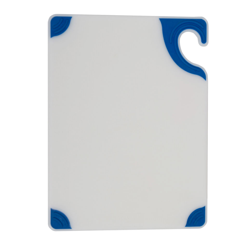 San Jamar CBGW152012BL Saf-T-Grip Cutting Board, 15 x 20 x 1/2 in, NSF, White w/ Blue Corners